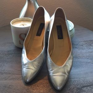 Nordstrom Silver Leather, low heal, made in Italy